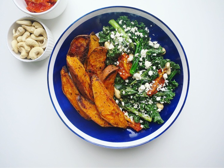 Roasted sweet potato, cashew nut and feta salad